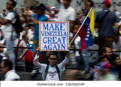 "Caracas, VE (6/4/19) - ""Make Venezuela Great Again"" banner is seen at venezuelan opposition protest against recent blackouts that have affected the entire country."