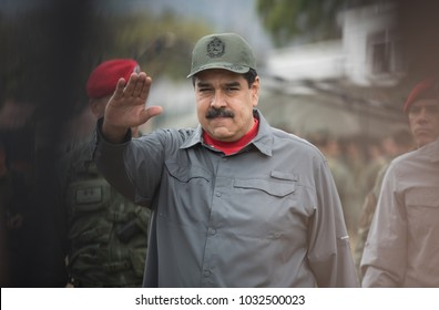 "Caracas, Venezuela; 02/24/18 President of Venezuela Nicolás Maduro heads an event with the military in Caracas, during the military exercises ""Independencia 2018"""