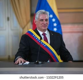 Caracas Venezuela. 05/30/2018. The Cuban president, Miguel Díaz-Canel during a state visit to Venezuela.