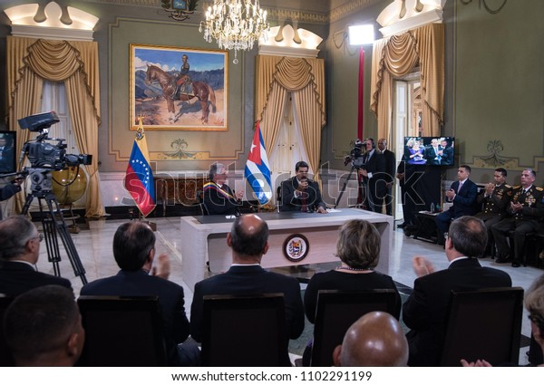 Caracas Venezuela. 05/30/2018. The presidents of Cuba, Miguel Díaz-Canel (right) and of Venezuela, Nicolás Maduro (left), during a state visit by the Cuban president to Venezuela.