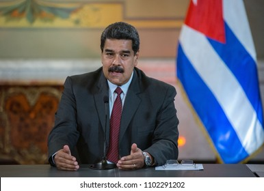 Caracas Venezuela. 05/30/2018. The Venezuelan president, Nicolás Maduro, during a state visit by the Cuban president Miguel Diaz-Canel to Venezuela.