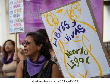 Caracas, Venezuela; 06/20/2018: People participate in a demonstration in front of the National Constituent Assembly of Venezuela, to demand the incorporation of legal, safe and free abortion.