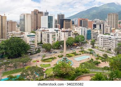 Caracas, Venezuela - 07 November, 2015: Aerial view of Francia Square (a.k.a. Altamira Square), in Venezuelan capital city, Caracas