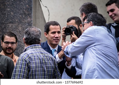 Caracas, Venezuela, 19/04/2019.  The Interim President Juan Guaidó arrives to Chacao, Caracas, and he speaks to his followers about the coming protests.