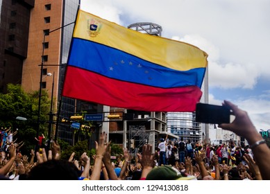 Caracas, Venezuela 23-01-19 Venezuelan protesters  take to the streets to express their rejection of the illegitimate government of Nicolas Maduro