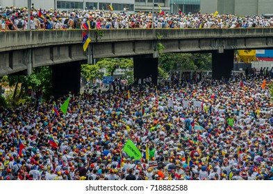 CARACAS, VENEZUELA - APRIL 19, 2017: Protest in Caracas, Venezuela against the government of Nicolas Maduro. Thousands of people in a highway protesting against the government.
