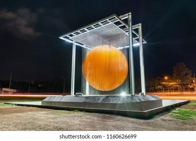 "Caracas, Venezuela - August 17, 2018: ""Caracas Sphere"" (Esfera Caracas), an important monument in the venezuelan capital city"
