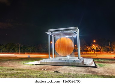 "Caracas, Venezuela - August 17, 2018: ""Caracas Sphere"" monument (Esfera Caracas, A.K.A. Esfera de Soto), at night"