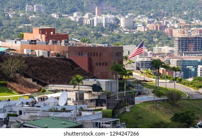 CARACAS, VENEZUELA - AUGUST 20, 2018: Aerial view of the Embassy of the United States in Caracas