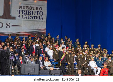 CARACAS, VENEZUELA- AUGUST 4, 2018: Nicolas Maduro, Venezuela President, is seen during a event that mark the 81st anniversary.of the Bolivarian National Guard.