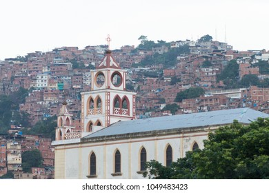 CARACAS, VENEZUELA - DEC 25TH 2012: View of the Church within the Petare neighborhood located in Caracas and is one of the most dangerous favelas in Latin America. Venezuela 2012.