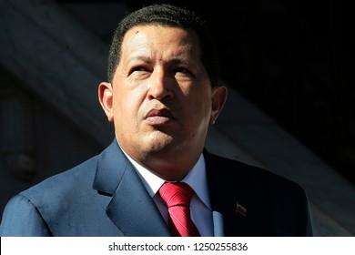 Caracas (Venezuela) Dec, 6, 2009. Former Venezuelan President Hugo Chavez at a press conference at the Miraflores Palace in Caracas. Photo/Harold Escalona
