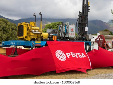 CARACAS, VENEZUELA- DECEMBER 1st, 2018: PDVSA sign is seen on a water well drilling rig during the FICTEC 2018, an International Fair on Science and Technology