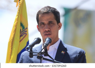 Caracas, Venezuela February 12, 2019: Powerful image of Venezuelan opposition leader Juan Guaido, as he pressures Maduro over humanitarian aid