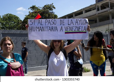 Caracas / Venezuela February 2, 2019: Demonstrators demand humanitarian aid during a protest against the Nicolas Maduro, called by opposition leader and interim acting president Juan Guaido