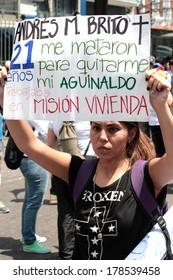 Caracas, Venezuela, February 22, 2014, protests against police repression and government killings of civilians in venezuela