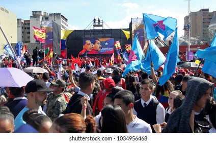 CARACAS, VENEZUELA- FEBRUARY 27, 2018: People crowd the Diego Ibarra Square during an event for Maduro registering as Candidate for April Presidential Election in Venezuela.