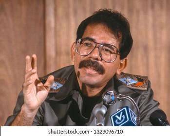 CARACAS, VENEZUELA - FEBRUARY 3, 1989: Daniel Ortega, President of Nicaragua, at news conference.
