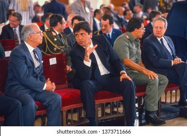 CARACAS, VENEZUELA - FEBRUARY 3, 1989: President of Peru Alan Garcia, center, with Nicaragua President Daniel Ortega (military uniform), attend inauguration of Venezuela President Carlos Andres Pe