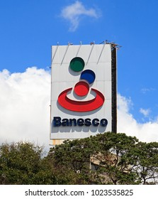 CARACAS, VENEZUELA- FEBRUARY 9, 2018: Banesco bank sign; Banesco, founded in 1992, is the largest bank in Venezuela. It has around 440 branches around the country.