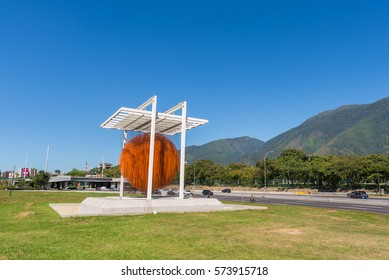 "Caracas, Venezuela - January 2nd, 2017: ""Caracas Sphere"" monument (Esfera Caracas A.K.A. Esfera de Soto), in the Venezuelan capital city, on a sunny day with blue skies."