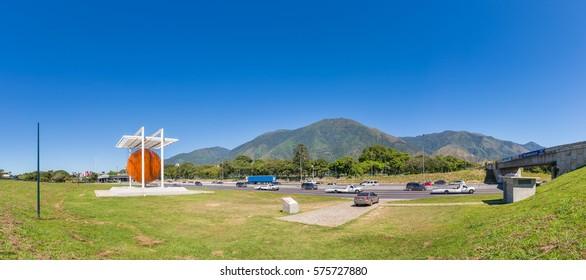 "Caracas, Venezuela - January 2nd, 2017: Panoramic view of ""Caracas Sphere"" monument (Esfera Caracas A.K.A. Esfera de Soto) and Avila Mountain, in the Venezuelan capital city."