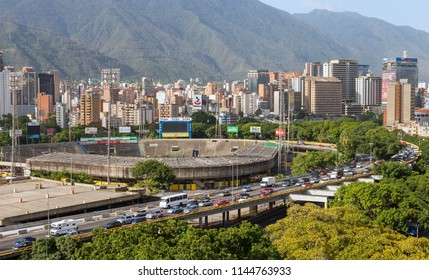 CARACAS, VENEZUELA- JULY 11, 2018: Caracas city skyline and traffic jam. Caracas is the capital and the largest city of Venezuela. It has a population over 4 millions as of 2017.