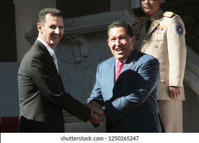Caracas (Venezuela) June 26, 2010. The venezuelan president Hugo Chavez  (R), receives syrian president Bashar al-Assad (L),  at the Miraflores Palace in Caracas. Photo/Harold Escalona