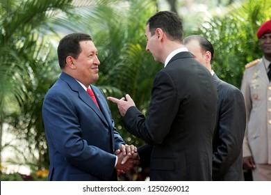 Caracas (Venezuela) June 26, 2010. The venezuelan president Hugo Chavez  (R), receives syrian president Bashar al-Assad (L),  at the Miraflores Palace in Caracas. Photo/Harold Escalona