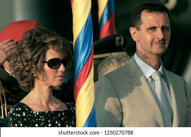 Caracas (Venezuela) June 26, 2010. Bashar al-Assad (R), president of Syria, and his wife Asma al-Assad (L), on arrival to Caracas, Venezuela, on official visit in June 25, 2010. Photo/Harold Escalona