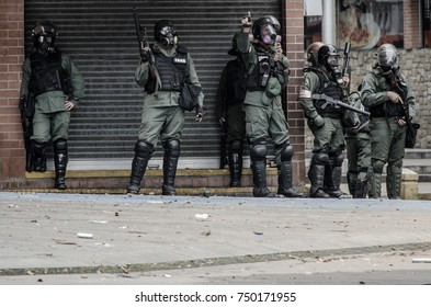 CARACAS, VENEZUELA - MAY 01, 2017: Protest in Caracas, Venezuela against the government of Nicolas Maduro. The national guard minutes before initiating the repression against the demonstrators.