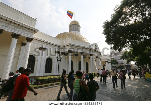 CARACAS, VENEZUELA - MAY 06, 2014 - people walking in front of capitolio, buildings of federal government in downtown