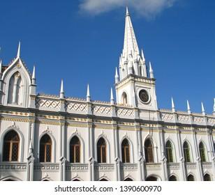 Caracas, Venezuela May 1, 2019: Palace of the Academies neo gothic building in downtown Caracas historic centre Venezuela.