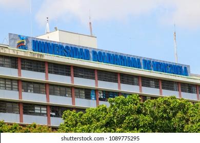 "CARACAS, VENEZUELA- MAY 11, 2018: Bolivarian University of Venezuela ""Universidad Bolivariana de Venezuela"" building. The Universidad Bolivariana de Venezuela (UBV) was established in 2003."