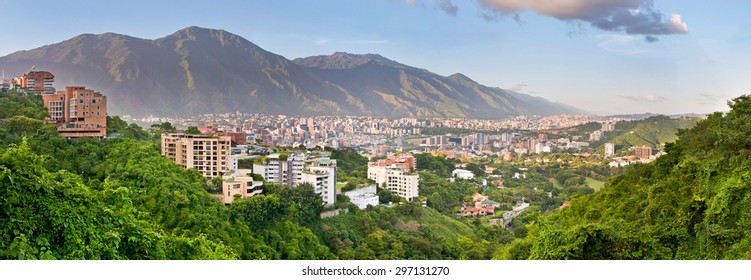 Caracas, Venezuela - May 19, 2012: Panoramic view of Caracas from Valle Arriba observation point