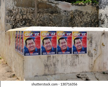 CARACAS, VENEZUELA - SEPTEMBER 29: Election poster on the wall  the president of Venezuela Hugo Chavez trying reelection to get in presidential elections in 2012 on  September 29, 2012 in Caracas