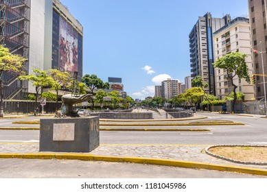 Caracas, Venezuela - September 9, 2018:  Libertador Avenue at PDVSA oil company main venue, in downtown Caracas