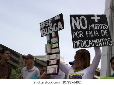 Caracas, Venezuela-April 25, 2017: citizens protests over the country's health crisis and medicine shortages showing some of the medicines that are unavailable in the country