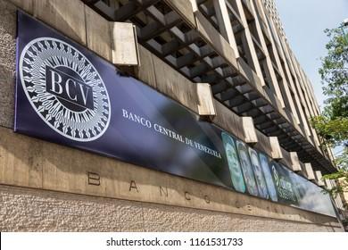 CARACAS, VENEZUELA-AUGUST 21, 2018: Banco Central de Venezuela; it is  the Central Bank of Venezuela, founded in 1939.