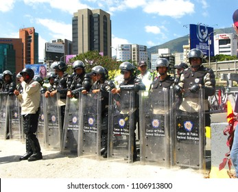 Caracas, Venezuela-May 12, 2017: Riot police block a march in an almost daily series of sometimes deadly protests against the government of President Nicolas Maduro