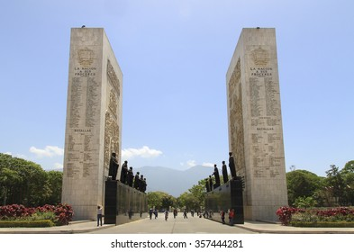 CARACAS, VENEZUELA-MAY 17, 2015: Tourist are seen around the Monumento a Los Proceres. This monument is a homage to important Venezuela's independence heroes.
