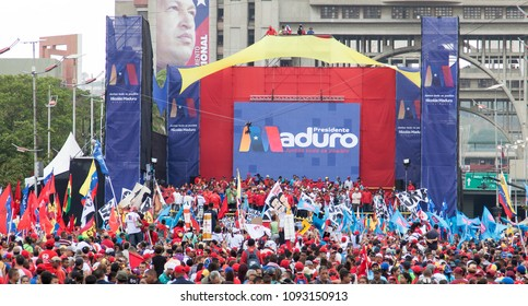 CARACAS, VENEZUELA-MAY 17, 2018: Nicolas Maduro delivers a speech to supporters at Bolivar Avenue during his Presidential Closing Campaign rally in Venezuela.