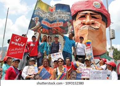 CARACAS, VENEZUELA-MAY 17, 2018: People crowd the Bolivar Avenue during Nicolas Maduro Presidential Closing Campaign rally in Venezuela.