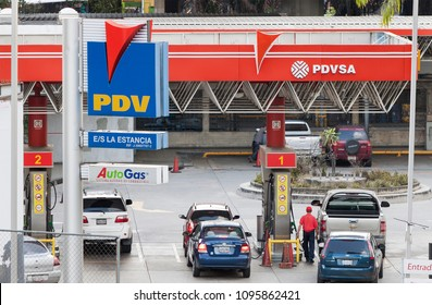 CARACAS, VENEZUELA-MAY 21, 2018: PDV gas station at city downtown; PDV is a subsidiary of PDVSA.
