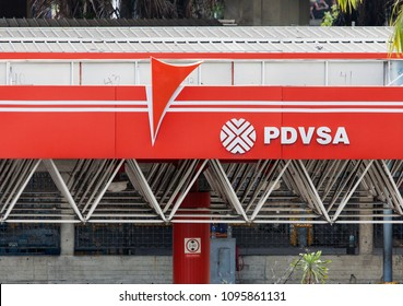 CARACAS, VENEZUELA-MAY 21, 2018: PDVSA sign; Petroleos de Venezuela, S.A. (PDVSA), founded in 1976, is the Venezuelan state-owned oil and natural gas company