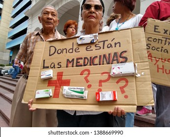 Caracas/Venezuela, April 2019: Protested at Red Cross headquarters in Caracas accusing the government of selling some of the organization recently arrived humanitarian aid. Medicine shortage crisis