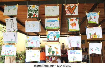 Caracas/Venezuela - April 22, 2018: Nature kids' drawings art exhibition at school during  earth day celebration in Caracas