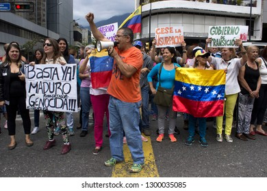 Caracas/Venezuela - January 30, 2019: Protesters filled streets across Venezuela in a show of strength for Juan Guaido, the U.S. backed opposition leader declared interim president
