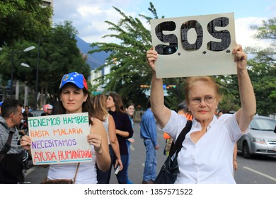 Caracas/Venezuela, March 2019: People in the streets as desperation and rage spreads among Venezuelans; the hours pass and the massive blackout that hits the country in March 2019 is not solved