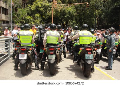 Caracas/Venezuela-02/16/2017: National guards being ready to use force during a rally in Caracas against Nicolas Maduro ditactorship government